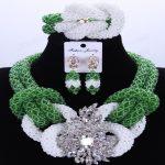 Green And White African Beads <b>Jewelry</b> Set <b>Handmade</b> Crystal Bridal Necklace <b>Jewelry</b> Set Choker Women <b>Jewelry</b> Set 2018