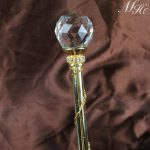 Beauty Pageant Scepter Wand Clear Crystal Handmade Sceptre Prop Staff Wedding Bridal Prom Party Costumes Accessories – Gold