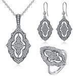 Vintage Collection Sparkling Lace Stunning Ring Necklace <b>Earrings</b> 100% 925 Sterling <b>Silver</b> Jewelry Set