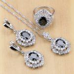 Trendy 925 Silver <b>Jewelry</b> Black Cubic Zirconia White CZ <b>Jewelry</b> Set For Women Earrings/Pendant/Necklace/Rings