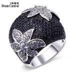DreamCarnival 1989 Big Flower Rings for Women <b>Wedding</b> Party Statement <b>Jewelry</b> Rhodium Gold-color Black Clear CZ Anillos Mujer