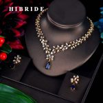 HIBRIDE Charm Blue Water Drop Dubai <b>Jewelry</b> Sets Gold Color Wedding <b>Necklace</b> Earrings Sets Bijoux bijoux mariage N-592