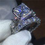 2017 Luxury <b>Jewelry</b> Female 925 Sterling silver ring set AAAAA Zircon Cz stone Engagement <b>wedding</b> band rings for women bridal