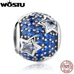 925 Sterling <b>Silver</b> Follow The Stars Midnight Blue Crystal Charm Beads Fit Original wst <b>Bracelet</b> Necklace Authentic Jewelry