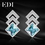 EDI Luxurious 2ct Natural Sky Blue Topaz 100% 925 <b>Sterling</b> <b>Silver</b> Drop Earrings For Women Fine <b>Jewelry</b>