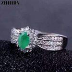 ZHHIRY Genuine Natural Emerald Gemstone Ring 925 <b>Sterling</b> <b>Silver</b> Rings Wedding Engagement Wife Woman Fine <b>Jewelry</b> Royal Noble