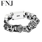 Punk Statement Animal <b>Bracelet</b> 925 Sterling <b>Silver</b> Christmas Gifts Big Leopard Head S925 Solid Thai <b>Silver</b> <b>Bracelet</b> Men Jewelry
