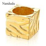 Nandudu Square Rings Unisex Woman Man Gold Silver Color Cocktail Ring <b>Accessories</b> Fashion <b>Jewelry</b> Gift R867 R868