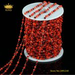 Rosary NEW Style Glass Chains,3x4mm 3 Red Color Glass Plated Brass Wire Wrapped Faceted Rondelle Glass Links Chains <b>Supply</b> ZJ157