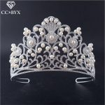 CC tiaras and crowns <b>handmade</b> luxury crystal pearl hairbands for beach party wedding hair accessories engagement <b>jewelry</b> HG692