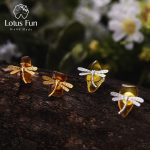 Lotus Fun Real 925 Sterling <b>Silver</b> Natural Amber Original Handmade Fine Jewelry Cute Dragonfly Stud <b>Earrings</b> for Women Brincos