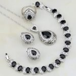 Buddha Shaped Black Cubic Zirconia White CZ 925 Silver <b>Jewelry</b> Sets For Women Wedding Bracelets/<b>Necklace</b>/Pendant/Earrings/Ring