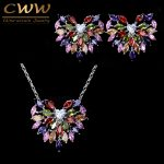 CWWZircons Romantic Womens <b>Accessories</b> Multi Color Cubic Zirconia Crystal Fashion Ladies <b>Jewelry</b> Set Earring And Necklace T222