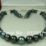 New Fashion Style diy 8-9mm Natural Black Tahitian Pearl Necklace 18″ AAA pearl <b>jewelry</b> <b>making</b> YE2066