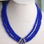 New fashion!3Row 6mm Blue round beads chalcedony necklace 17-19inch DIY women <b>jewelry</b> <b>making</b> design JT5648