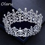 Olaru Good Quality Crysatl Flower Queen Bride Floral Crown Tiara Woman New Rhineston <b>Wedding</b> <b>Jewelry</b> Luxury Headband Accessories