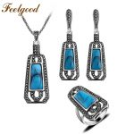 Feelgood Jewellery Blue Resin And Black Crystal Long Pendant Necklace Sets Vintage Silver Color Turkish <b>Jewelry</b> Sets For Women