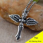 925 Sterling <b>Silver</b> Retro Angle Wing <b>Necklace</b> Pendant Men Thai <b>Silver</b> Fine Jewelry Gift CH025174
