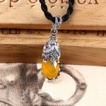 Pendant 925 Sterling <b>Silver</b> Ethnic Long <b>Necklace</b> Nature Citrine Women's Fine Jewelry 35mm*10mm Fashion Pendants <b>Necklaces</b> Animal