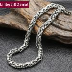 2017 New 925 <b>Sterling</b> <b>Silver</b> Necklace Men <b>Jewelry</b> 7mm Wide Weave Rope Chain Pendant Necklace women Gift Fine <b>Jewelry</b> N4
