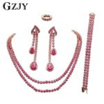 GZJY Elegant Charm Rose Gold Color Inlay Full Red Zircon <b>Necklace</b> Ring Earrings Bracelet For Bridal Wedding <b>Jewelry</b> Sets