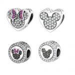 2016 Autumn New Arrival 925 Sterling Silver Beads Mickey Minnie Heart Charm Fits Original Pandora Charms Bracelet DIY <b>Jewelry</b>