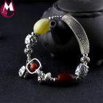 DIY Big Natural Amber Beads 925 Sterling <b>Silver</b> <b>Bracelet</b> Fine Foot Buddhism Lotus Carving Plant Hollow Flower Luxury Gem Jewelry