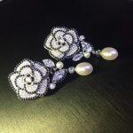 natural fresh water drop earring 925 <b>sterling</b> <b>silver</b> with cubic zircon flower drop earring fashion women <b>jewelry</b> free shipping