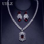 UILZ Women Fashion Crystal Necklace Earrings Set AAA Zirconia Charm <b>Wedding</b> Set <b>jewelry</b> US307