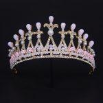 Gorgeous Women hair Crowns baroque Style Tiaras Bridal <b>Wedding</b> Hairbands Pink crystal Pearl Women Party Hair <b>Jewelry</b>
