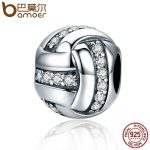BAMOER High Quality Genuine 925 Sterling Silver Glittering Ribbon Ball Shape Beads fit Charm Bracelets for Women <b>Jewelry</b> SCC302