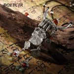BOEYCJR Punk Style Skull Natural Stone Necklace Chain <b>Handmade</b> Ethnic Vintage Long Pendant Necklace For Women <b>Jewelry</b> 2018