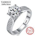 YANHUI 100% Real Natural 925 Sterling Silver Rings for Women Luxury 8mm Sona Cubic Zirconia Wedding Rings <b>Fashion</b> <b>Jewelry</b> ZLR006