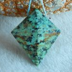 Natural stone,African Turquoise,Gemstone pendant,36x29x12mm,10.8g
