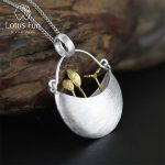 Lotus Fun Real 925 Sterling <b>Silver</b> Handmade Fine Jewelry My Little Garden Design Pendant with <b>Necklace</b> for Women Acessorios