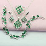 WPAITKYS AAA Trendy Green Created Emerald 925 Sterling-<b>Silver</b>-Jewelry Sets For Women Earrings <b>Bracelet</b> Necklace Ring Free Box
