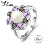 JewelryPalace 7mm Cultured Pearl 1ct Genuine Smoky Quartz Amethyst Cluster Rings 925 Sterling <b>Silver</b> Fine <b>Jewelry</b> For Women Gift