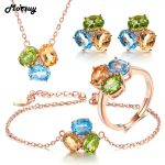 MoBuy 100% 925 <b>Sterling</b> <b>Silver</b> 4pcs <b>Jewelry</b> Sets For Women 3pcs Oval Gemstone Topaz Citrine Peridot Anniversary <b>Jewelry</b> V003EHNR