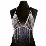 Fashion sexy bra chain silver mesh tassel chain summer beach unique harness necklace women bikini <b>accessories</b> <b>jewelry</b>