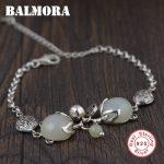 BALMORA Genuine 925 Sterling Silver <b>Jewelry</b> Fox Bracelets for Women Gift Chalcedony Animal Bracelet about 17+5.5cm TRS40203
