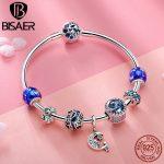 BISAER Genuine 925 Sterling <b>Silver</b> Shining Star Blue Moon Night Collection Brand Charm <b>Bracelet</b> for Women <b>Silver</b> Jewelry GXB801