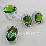 SHUNXUNZE Christmas gift Noble Generous <b>Silver</b> Plated Peridot Cubic Zirconia heart set (ring/earring/pendant) R807set SZ#6 7 8 9