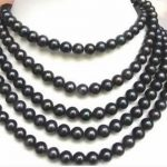 Natural black akoya freshwater cultured pearl 7-8mm charming round beads diy High-grade necklace <b>making</b> 84 inch BV326