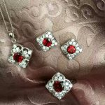 Natural red garnet gem jewelry sets natural gemstone Pendant ring <b>Earrings</b> 925 <b>silver</b> Elegant Square women anniversary jewelry