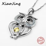 2018 100% 925 sterling silver cute animal owl chain pendant&necklace with Zirconial diy fashion <b>jewelry</b> <b>making</b> for women gifts