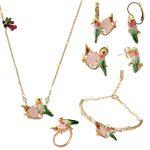 France Dyxytwe High Quality Enamel Glaze Color Hummingbird Gem Bracelet Bangle Ring Earrings <b>Necklace</b> Sets