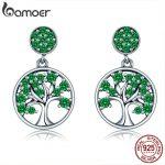 BAMOER Genuine 925 Sterling Silver Tree of Life Green AAA Zircon Drop Earrings for Women Sterling Silver <b>Jewelry</b> Brincos SCE322