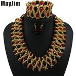 Statement necklace fashion <b>jewelry</b> sets <b>Handmade</b> gold chain african nigerian crystal bead dubai <b>jewelry</b> sets Vintage Bijoux