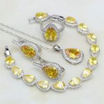 925 Silver <b>Jewelry</b> Yellow Cubic Zirconia White CZ Bridal <b>Jewelry</b> Sets For Women Stud Earrings/Ring/Pendant/<b>Necklace</b>/Bracelet