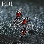 EDI Natural Style Vintage Garnet With 925 Sterling <b>Silver</b> Cocktail Indian Ring For Women Unique Leaf Shape Design Fine <b>Jewelry</b>